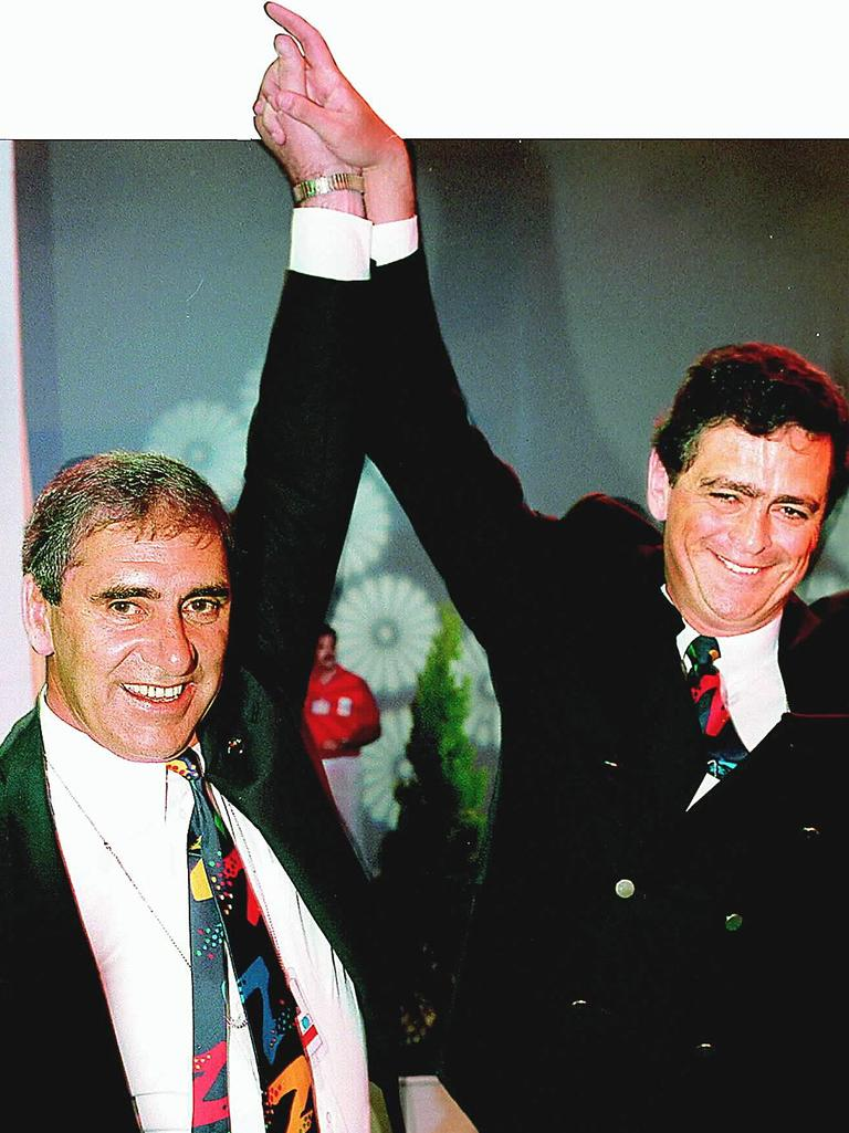 NSW Premier John Fahey (L) with Rod McGeoch in Monte Carlo after Sydney won Olympic Games 2000 bid in September 1993. General Sport