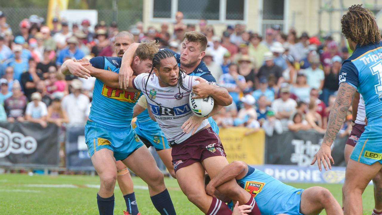 Manly's Martin Taupau during the NRL Round 5 Gold Coast Titans v Manly Sea Eagles match at Marley Brown Oval, Gladstone in 2018.