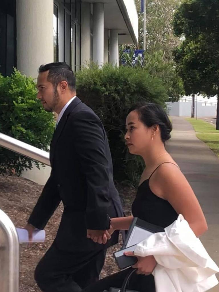 Carlito Raistrick arriving at Maroochydore District Court with his girlfriend.