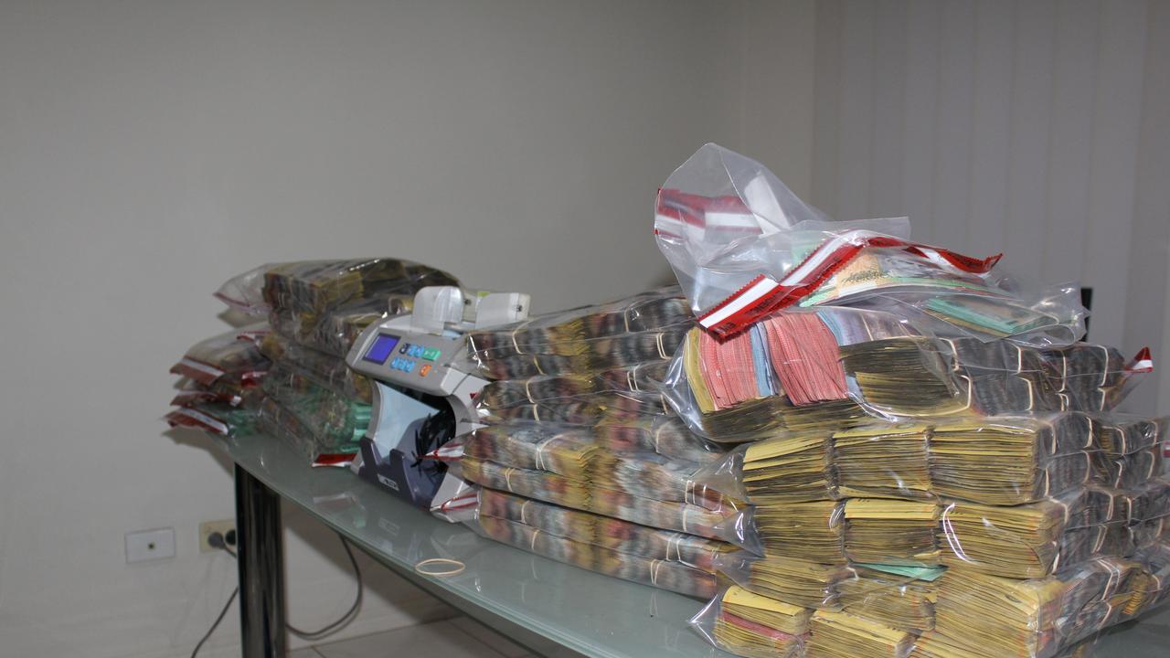 Cash seized by Sunshine Coast police.