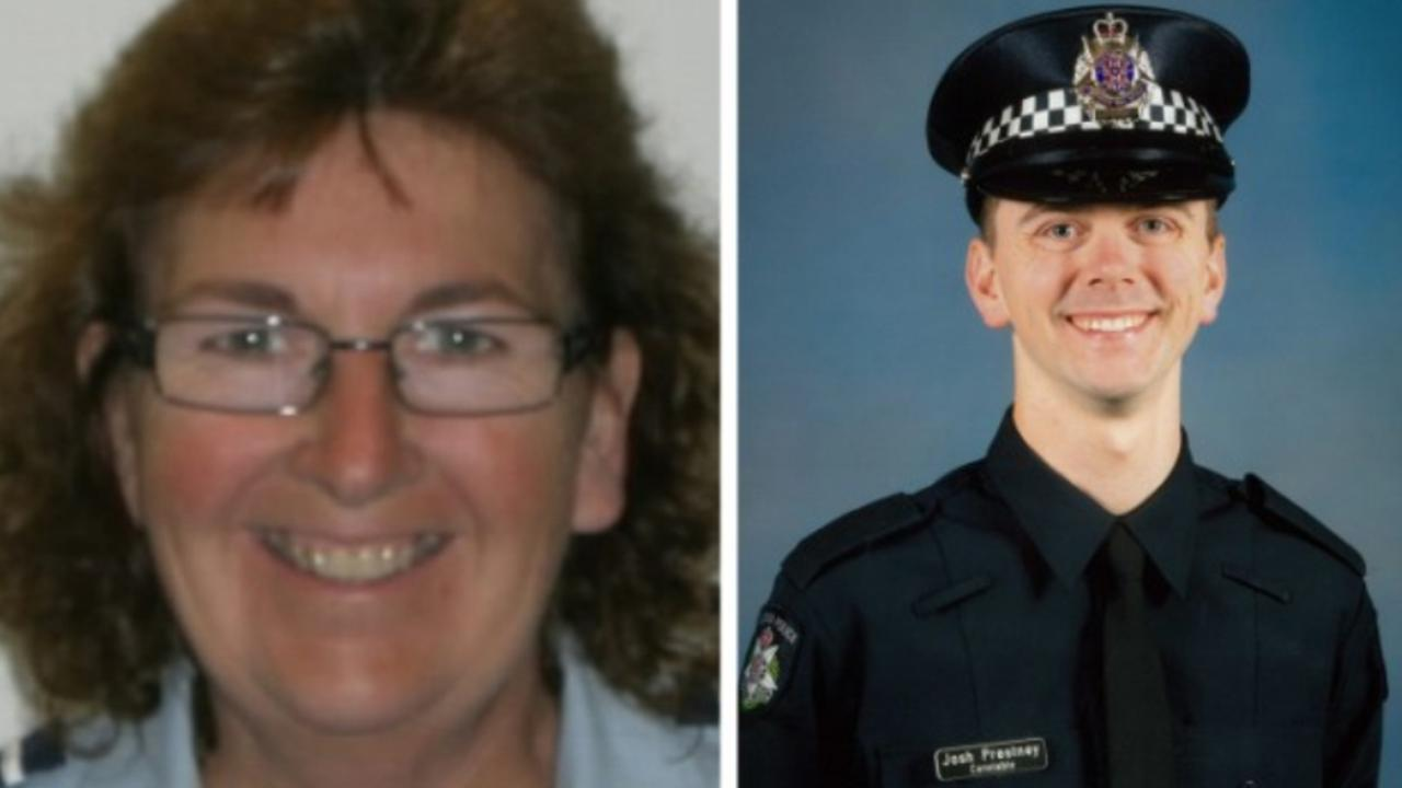 Leading Senior Constable Lynette Taylor and Constable Joshua Prestney were standing in the emergency lane after Richard Pusey was pulled over for speeding when they were hit by a truck. Picture: Supplied by Victoria Police