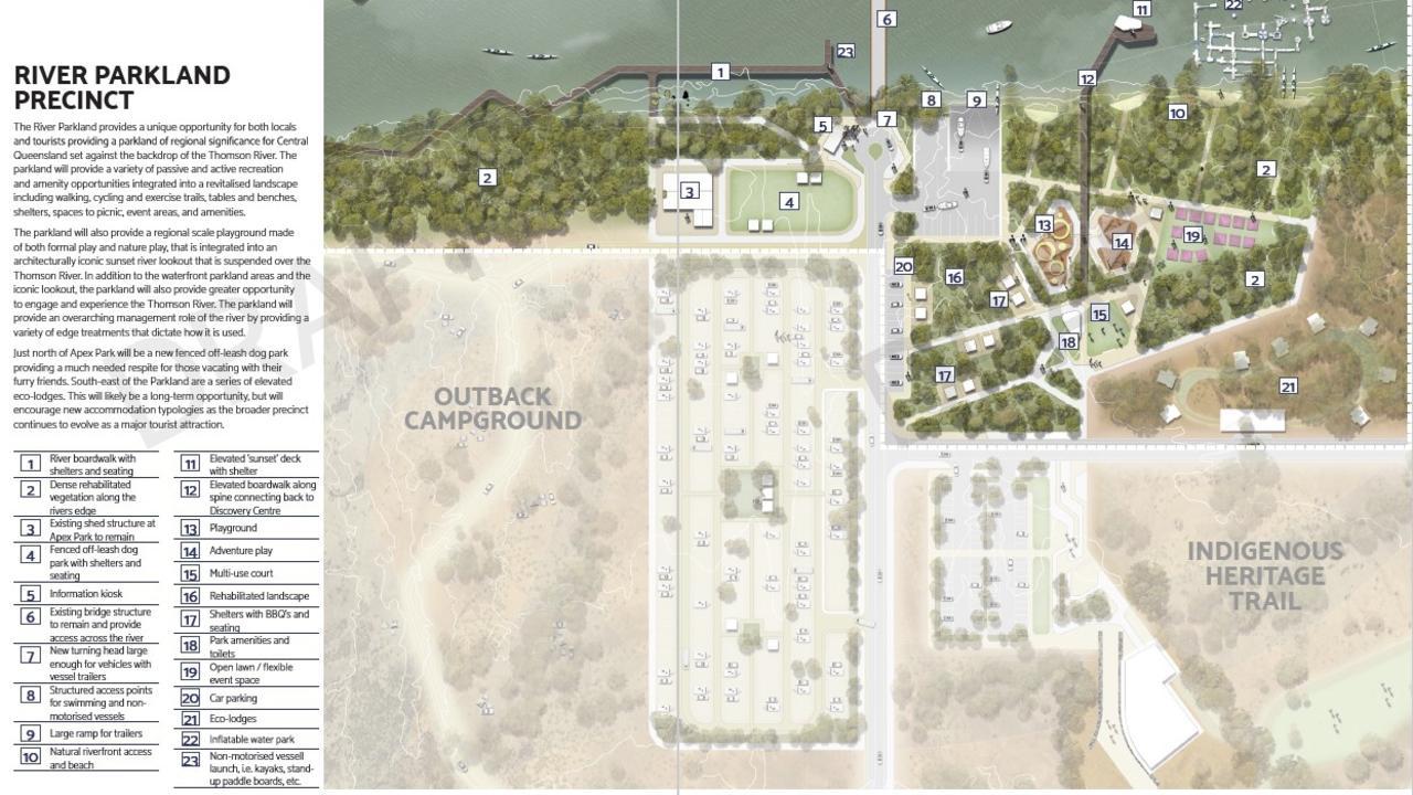 Draft plans for the River Parkland Precinct.