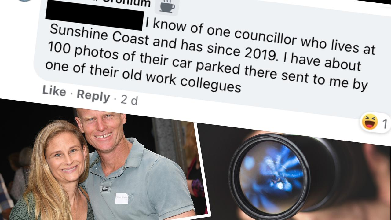 Mayor Glen Hartwig and partner Talitha Passey have slammed a social media commenter's claims of having more than 100 photos of Mr Hartwig's car outside her residence as