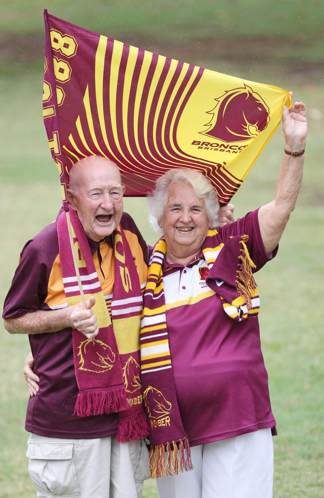 Val and Keith Hanlon at Wynnum oldest Broncos fans. Pic Annette Dew