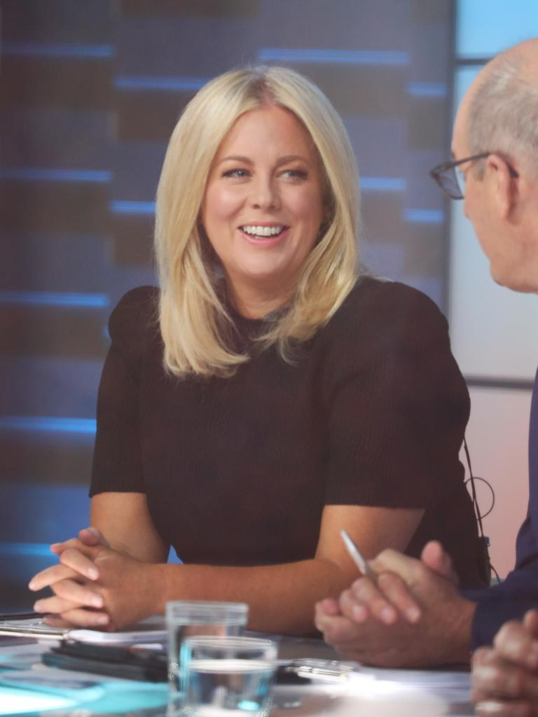 Sam Armytage on set during her last shift on Sunrise. Picture: John Grainger