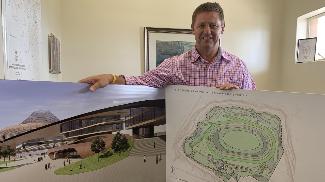 Lockyer Valley Regional Council deputy mayor Jason Cook with concept designs of the new Lockyer Valley Equine precinct: PHOTO: Ali Kuchel