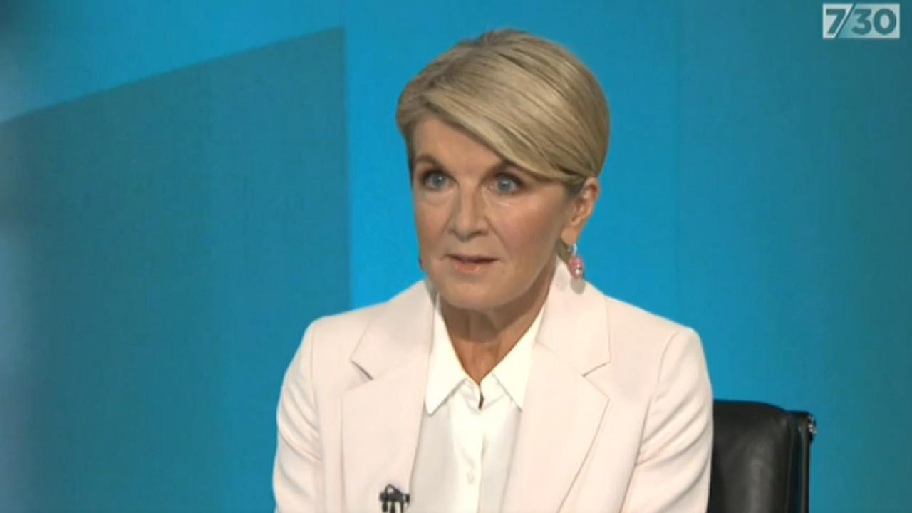 Former Australian Minister for Foreign Affairs Julie Bishop speaks to the ABC's 7.30 on Monday, addressing the alleged toxic culture in parliament. Picture: ABC