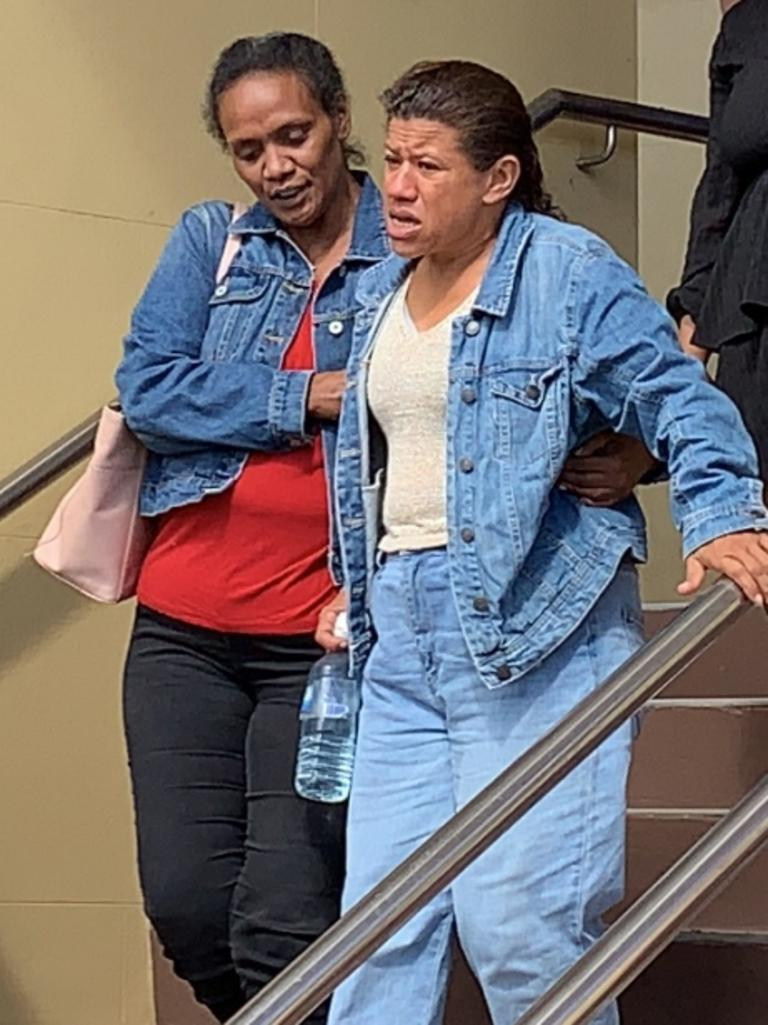 Heartbroken mother Tania Rudall (right) was surrounded by supporters who packed Mackay District Court for the appeal hearing of driver Jessica May Goulding.