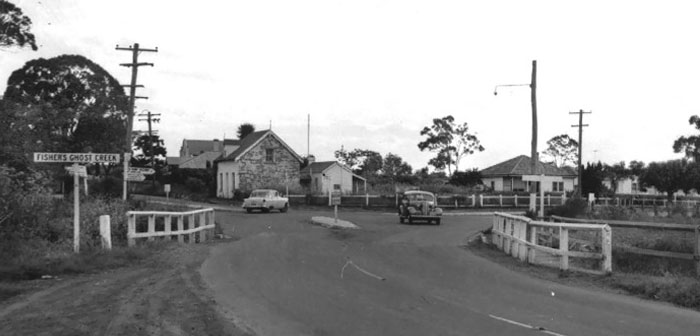 Fishers Ghost Creek, Emily's Cottage and surrounds, as shot by Arnold McGill in the early 1950s. Photo: McGill Family Collection/Campbelltown City Council