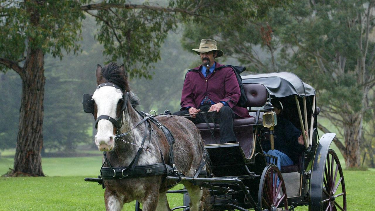 Heritage Day activities at Rosny Historic Centre to celebrate the history of the Eastern Shore, Roly Calvert of Campania with his clydesdale horse Dan, pulling a carriage
