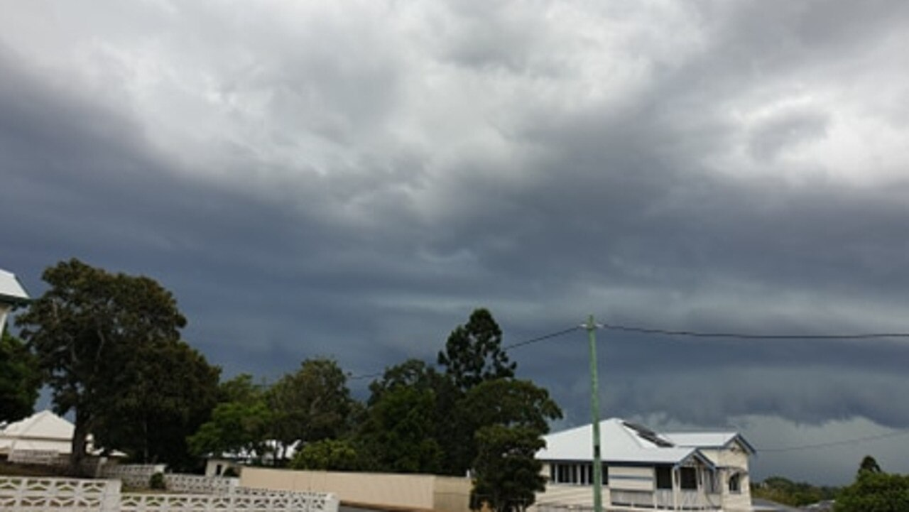 The storm rolls into Gympie on Tuesday afternoon, looking from Ashford Rd, that delivered a much-needed 30mm of rain. Photo: Frances Klein