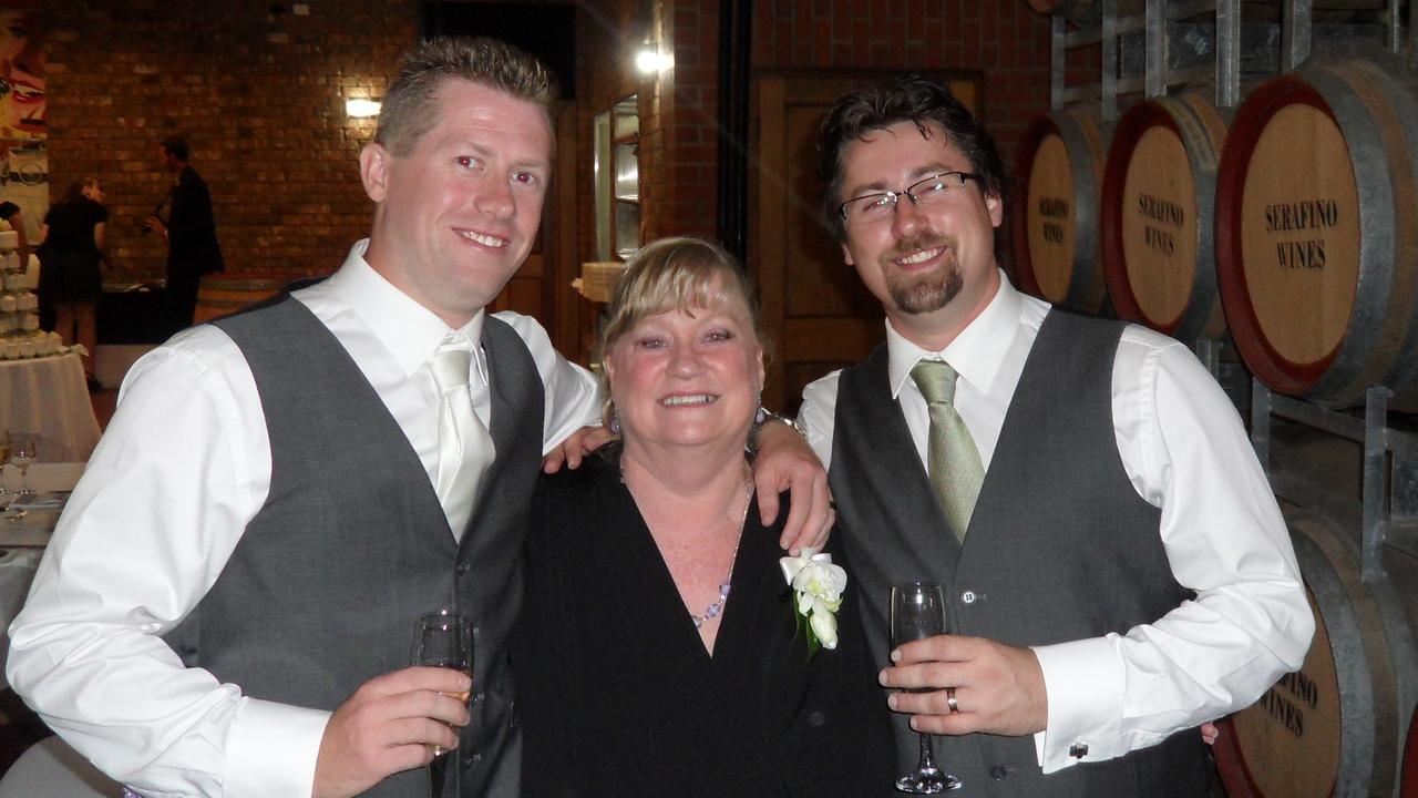 Imran Webb, 36, (left) and Mikey Webb, 38, with their mother Fiona Webb, 68. Picture: Supplied.
