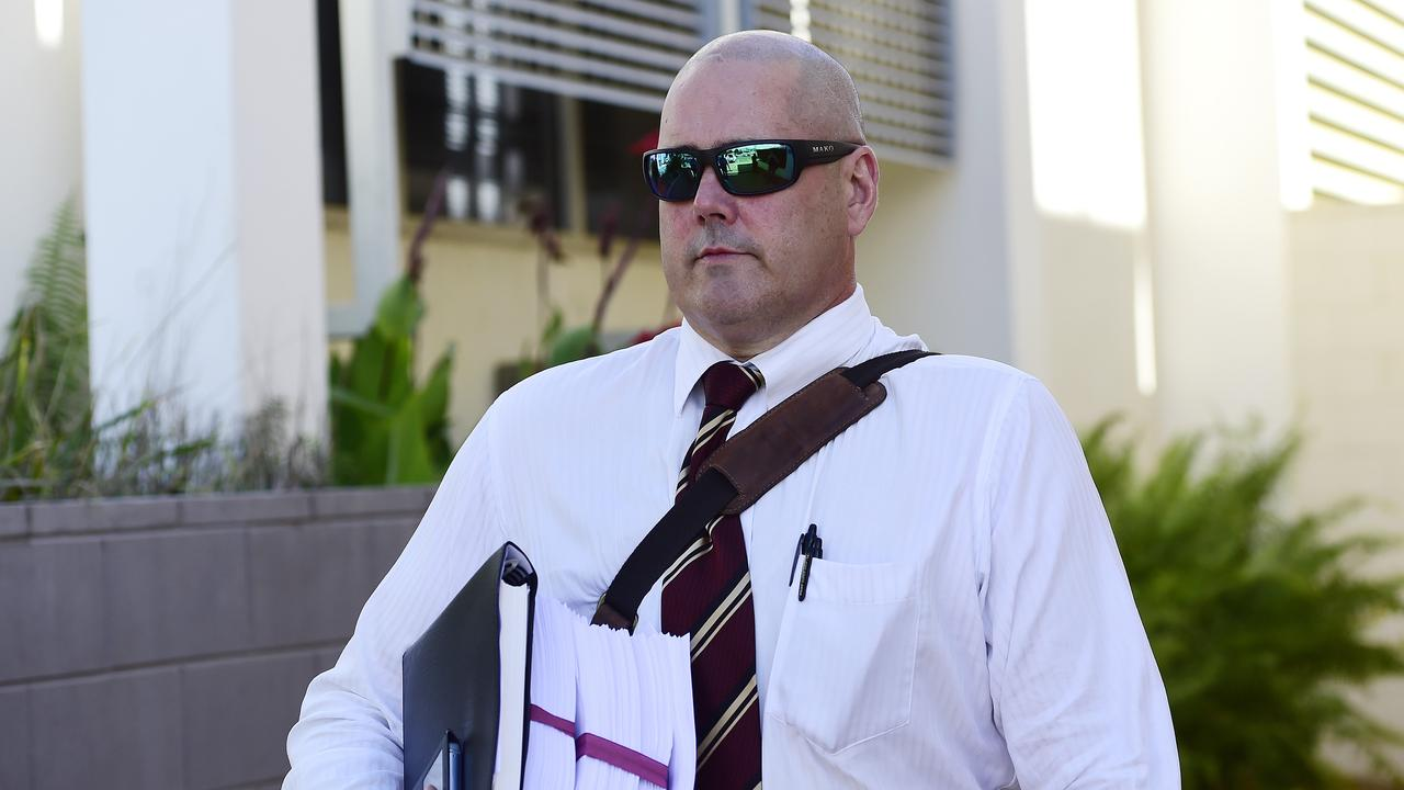 Josh Hoch's solicitor Michael Spearman leaves the Mount Isa Police Station watch house. Picture: Wesley Monts