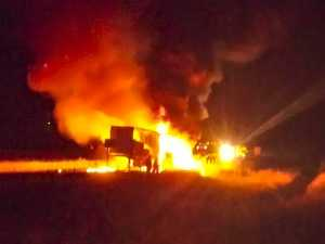 Dramatic truck fire closes section of Pacific Highway