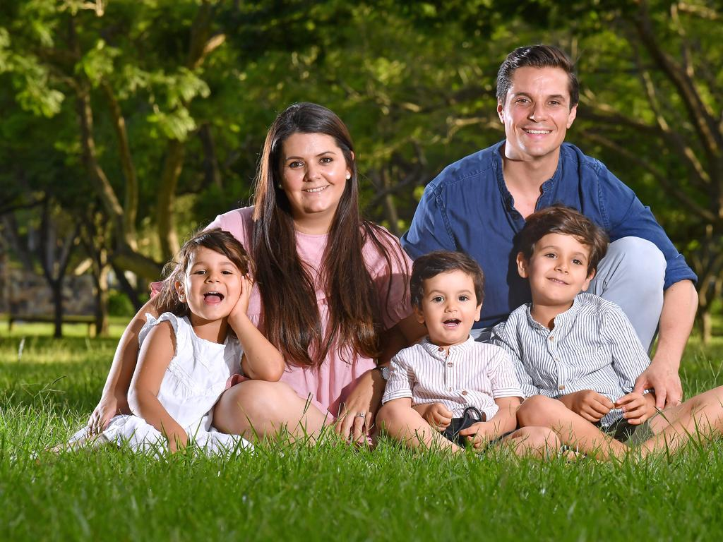 Parents Julianna Borda and Juan Luengas with kids Paulina age 5, Agustin age 2 and Jeronimo Luengas age 6 have moved to Queensland from Perth. Pic, John Gass