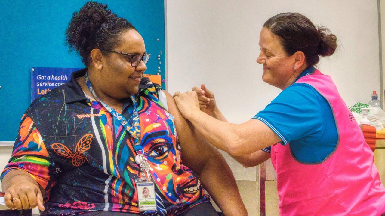 Saibai Island indigenous health worker Rotona Martin gets her COVID vaccination.