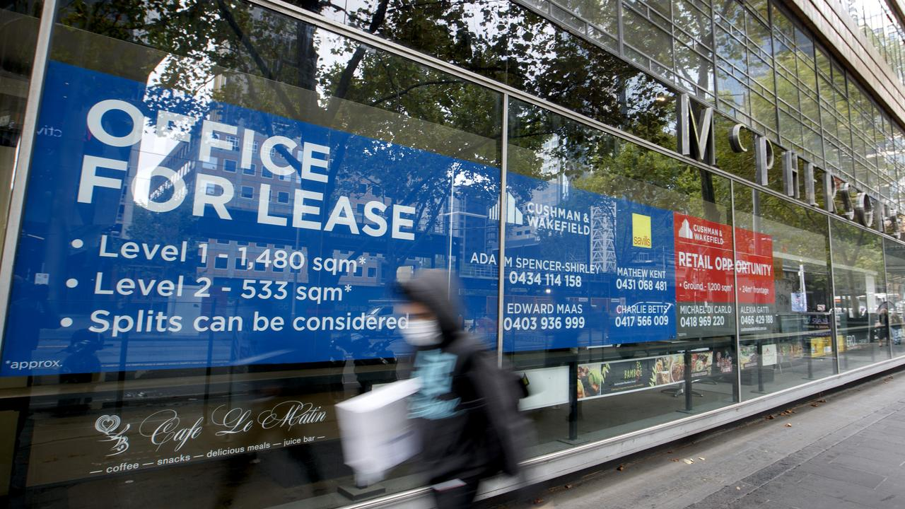 MELBOURNE, AUSTRALIA - NewsWire Photos MARCH 9 2021: For lease signs on an empty office space in Melbourne CBD. Research says 110,000 jobs will go across the country this month as JobKeeper comes to an end. Picture: NCA NewsWire / David Geraghty