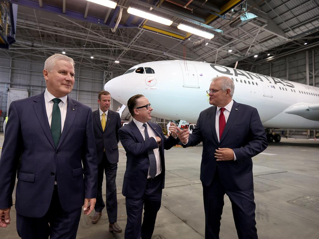 SYDNEY, AUSTRALIA - NewsWire Photos MARCH 11, 2021: Pictured L-R Deputy Prime Minister Michael McCormack, Minister for Tourism Dan Tehan, Qantas CEO Alan Joyce, and Australian Prime Minister Scott Morrison. Picture: NCA NewsWire / Dylan Coker