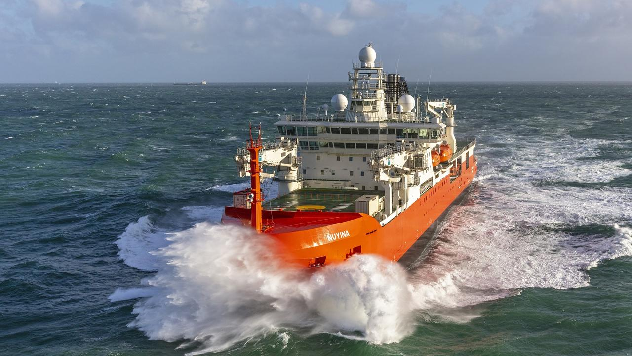 The RSV Nuyina undertaking sea trials in the North Sea. Picture: Flying Focus/Australian Antarctic Division