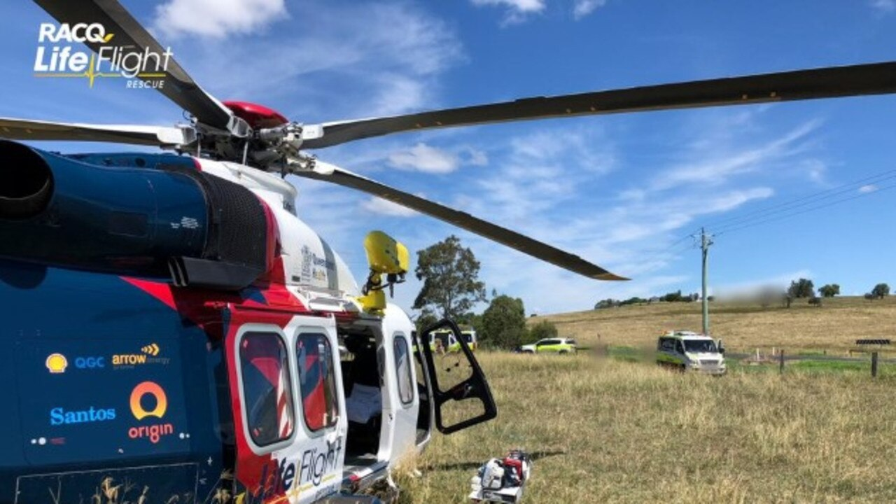 A teenage girl was treated for several injuries, before being flown to Queensland Children's Hospital in a serious condition.