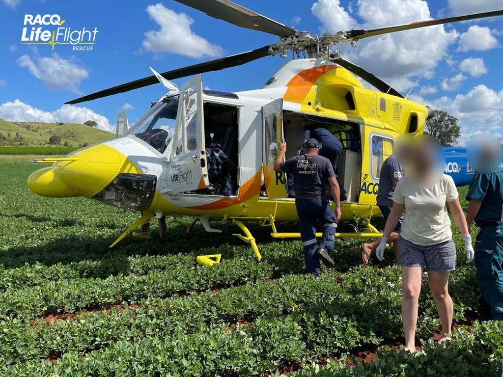 A primary school aged boy was flown to hospital following a motorcycle accident at a property west of Biggenden. Photo: RACQ LifeFlight Rescue