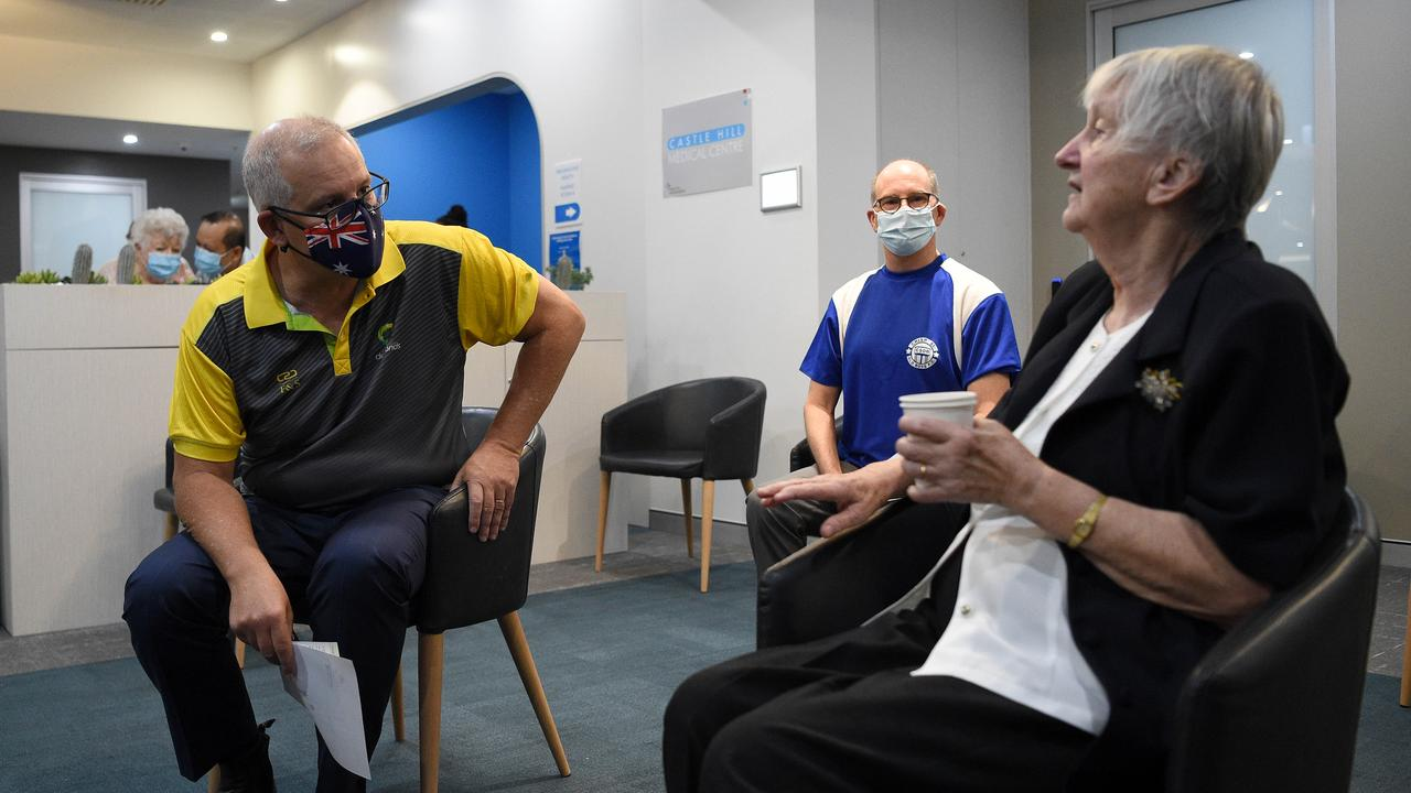 Prime Minster Scott Morrison is seen with aged care resident Jane Malysiak after they both received their second and final COVID-19 vaccination shot at the Castle Hill Medical Centre, in Sydney. Picture: NCA NewsWire/Bianca De Marchi