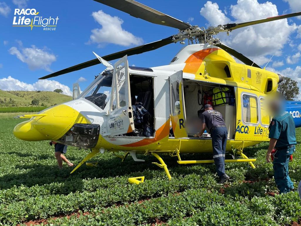 A primary school-aged boy was flown to hospital following a motorcycle accident at a property west of Biggenden. Photo: RACQ LifeFlight Rescue