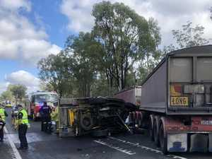 Capricorn Highway blocked after two truck and vehicle crash