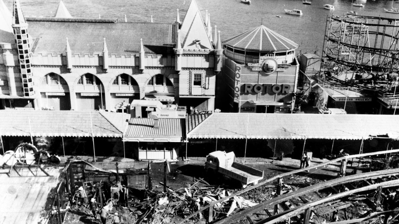 An aerial view of the damage following the fire on the Ghost Train ride at Luna Park in Sydney, NSW, 10/06/1979, which killed seven. (Picture: Bromley)
