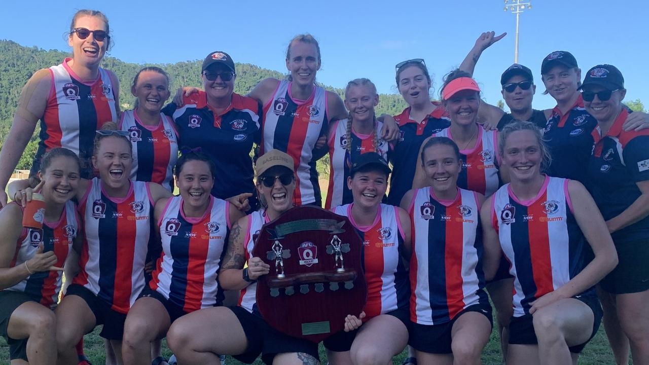 AFLQ Mackay pre-season carnival women's competition winners Curra Swans. Photo: Contributed