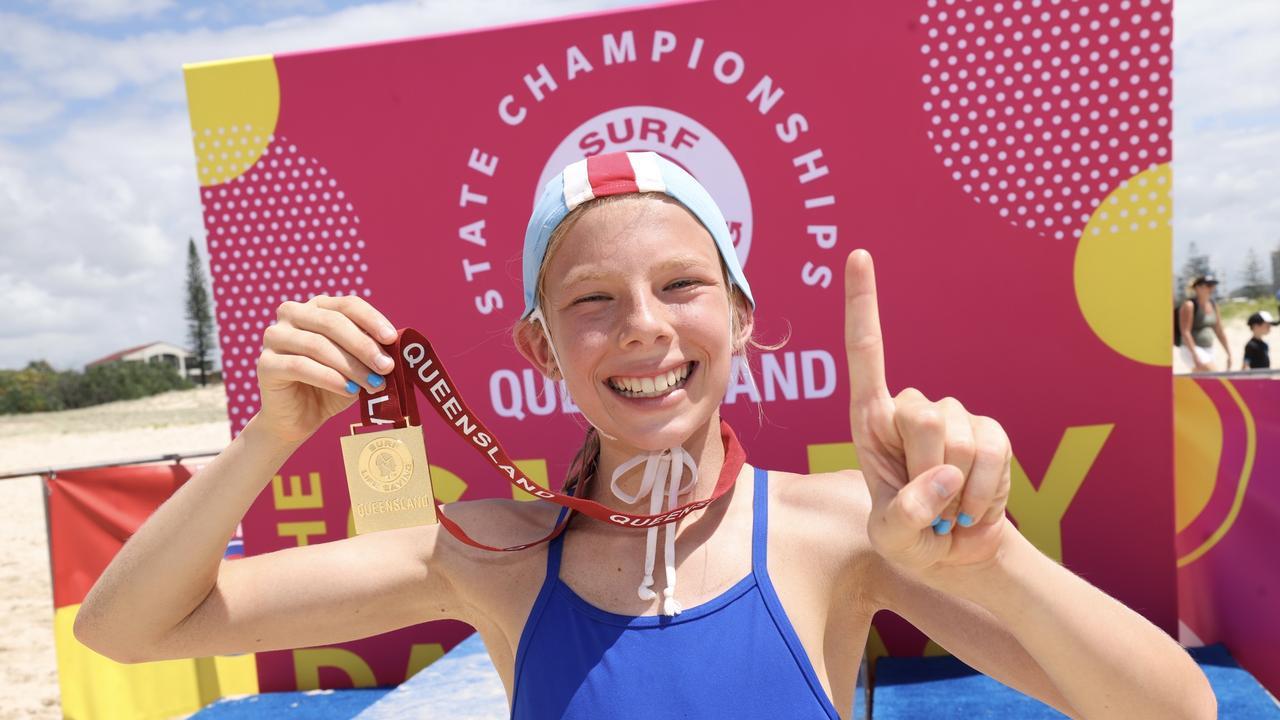 Metropolitan Caloundra's Jaz Edmondstone won the U11 Female Beach Sprint at the Queensland Youth State Championships. Picture: SLSQ