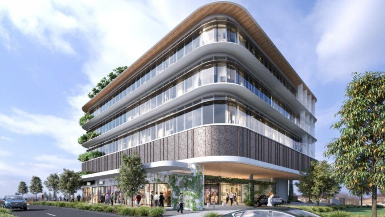 An artist's impression shows the design for the new A1 office building that Coast developer Evans Long wants to build on First Avenue in the Maroochydore city centre.