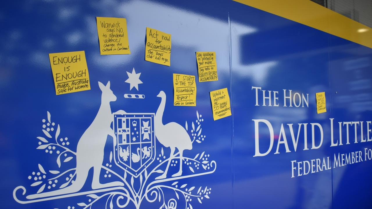 The Warwick group left behind strong messages for the MP through sticky notes and slogans written in chalk.
