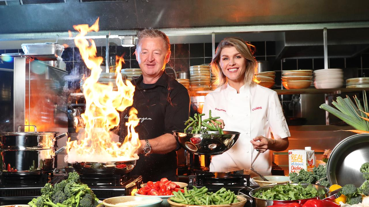 Luke Mangan and Courtney Roulston officially unveiling the new cookware range sold at Coles. Picture: Richard Dobson