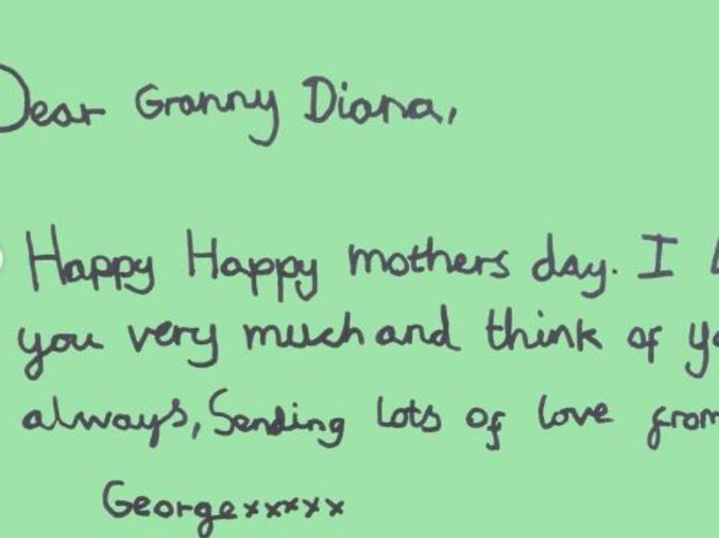 "George's Mother's Day card says, ""I love you very much and think of you always"". Picture: Instagram"