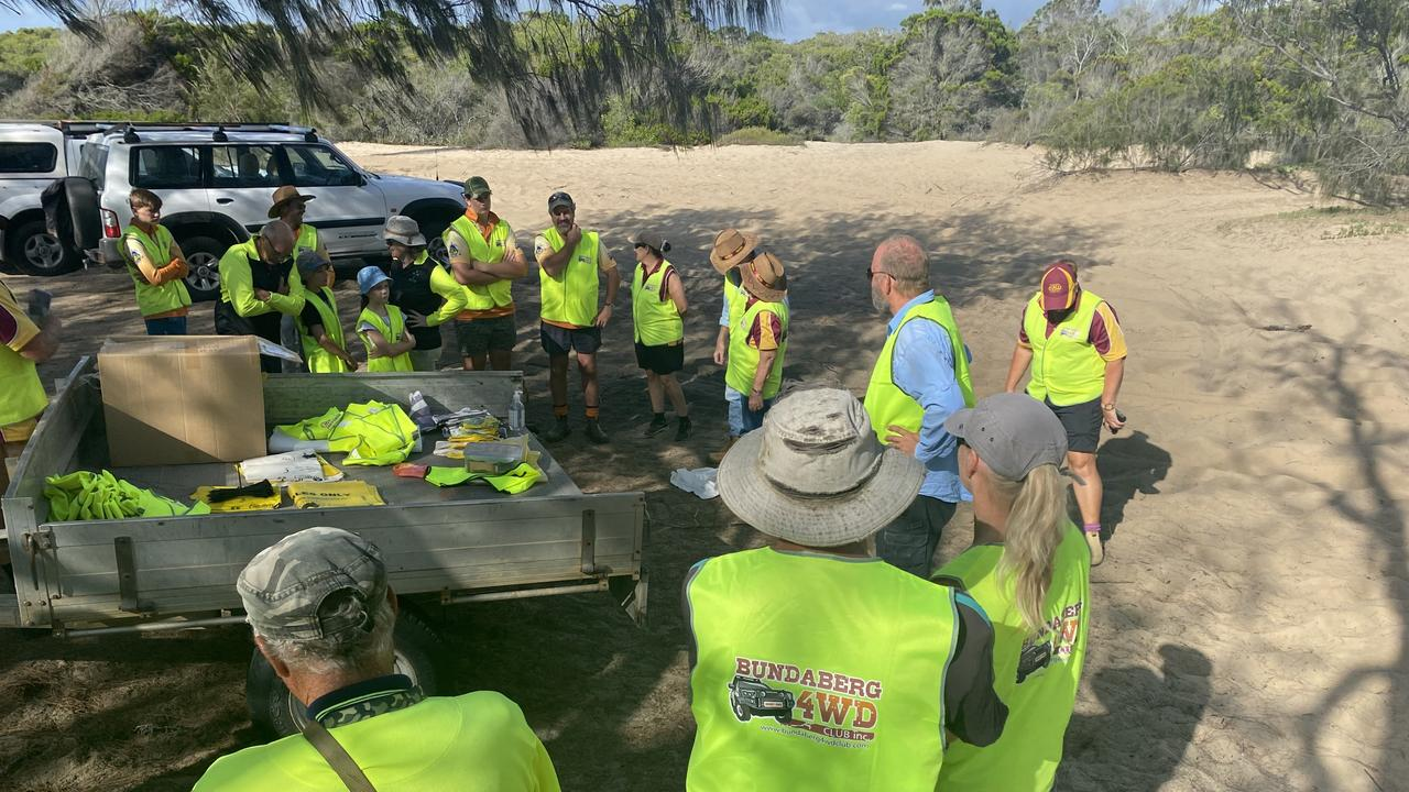 BUNDABERG 4WD CLUB: Members receiving instructions before the clean-up.