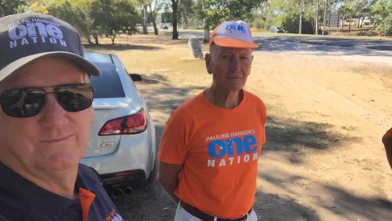 One Nation candidate for Gladstone Kevin Jorgensen (sunglasses) and his volunteer that was allegedly assaulted at the Boyne Island Community Centre pre-polling booth.