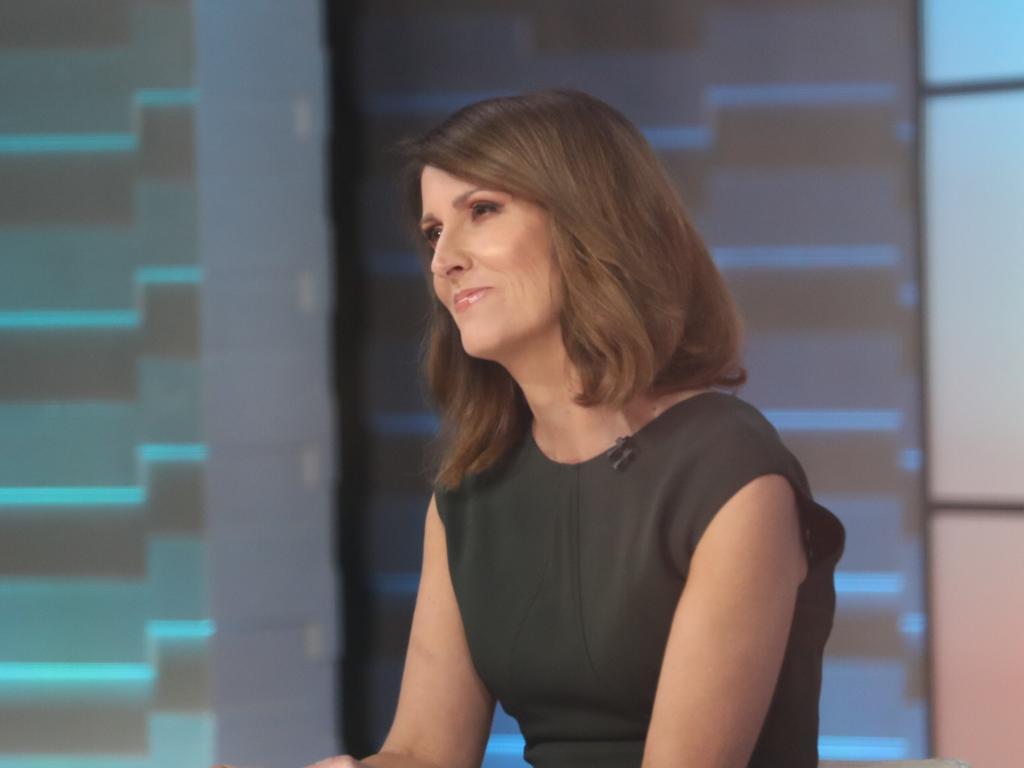 Natalie Barr at the Sunrise desk. Picture: John Grainger