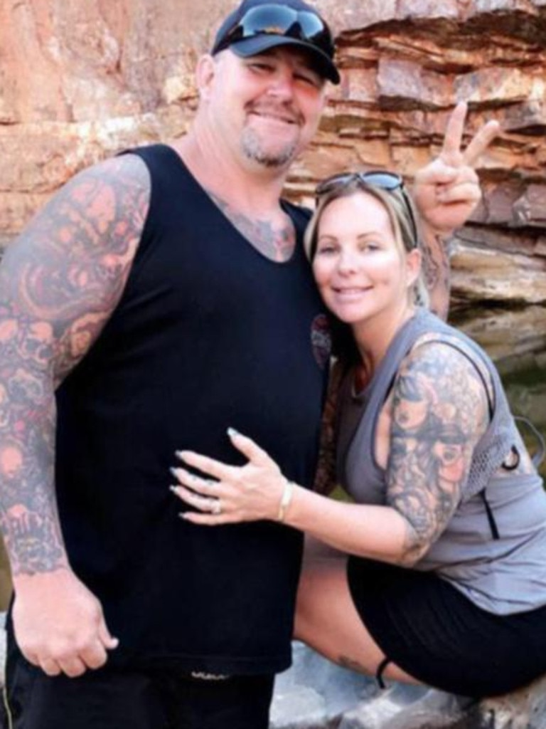 Nick Martin, pictured with wife Amanda, was gunned down at Perth Motorplex on December 12.