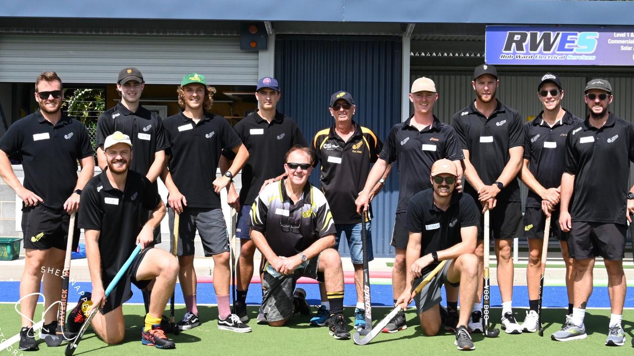MEN IN BLACK: Labrador's first grade side who are back-to-back champions of Brisbane's 1st Division League came to Ballina Hockey Club where they hosted hockey clinics and shared skills at the Ballina Turf to talented youngsters. Photo: Shez Napper