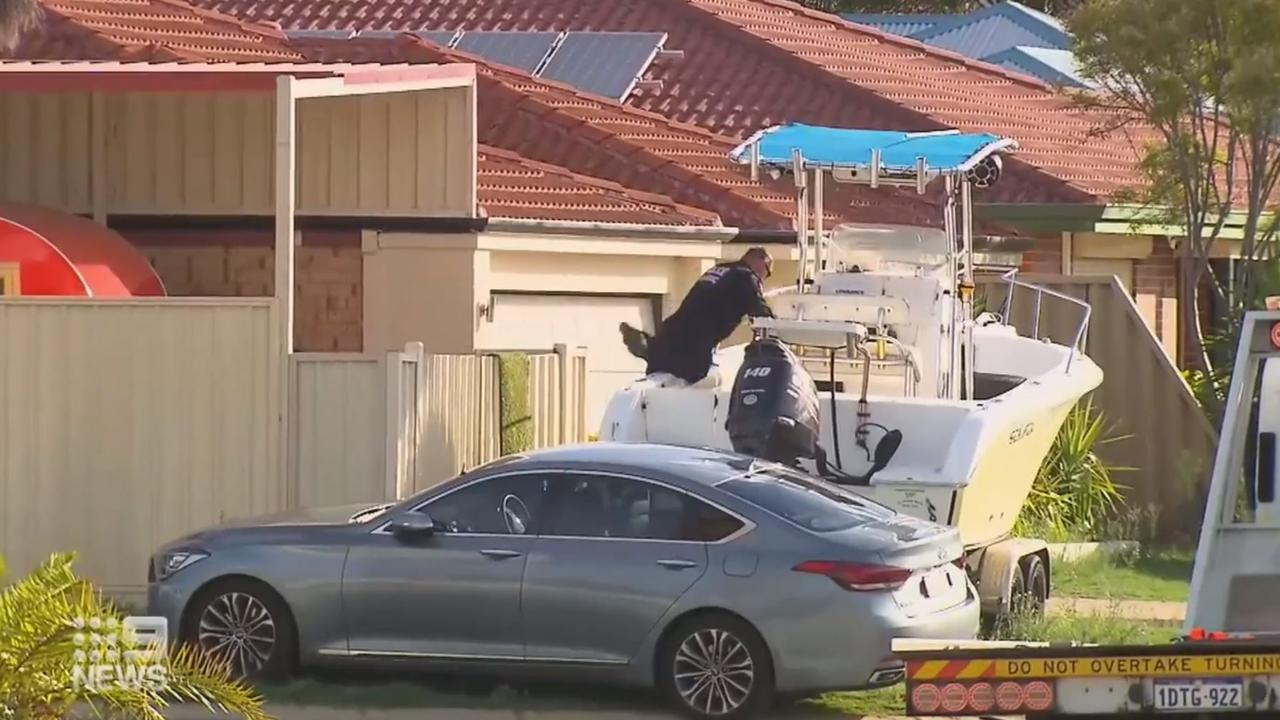 Police raid a house in Warnbro over the shooting of bikie Nick Martin. Picture: Nine News