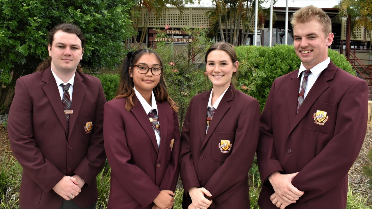 Gympie State High School Captains. Left to right: Camron Follett, Shenne Brown, Zali Williams and Bodie Torr. Picture: Kristen Camp