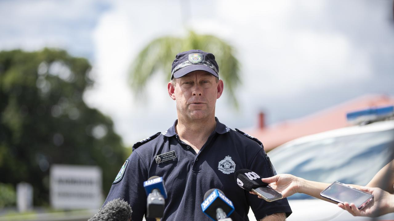 Forensic Crash Unit Officer in Charge, Acting Sergeant Peter Cowan talks to media regarding a fatal crash near Gympie where a school bus collided with a Landcruiser last week. Photo Lachie Millard