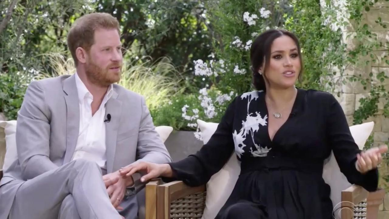 Harry and Meghan during their interview with Oprah Winfrey. Picture: CBS