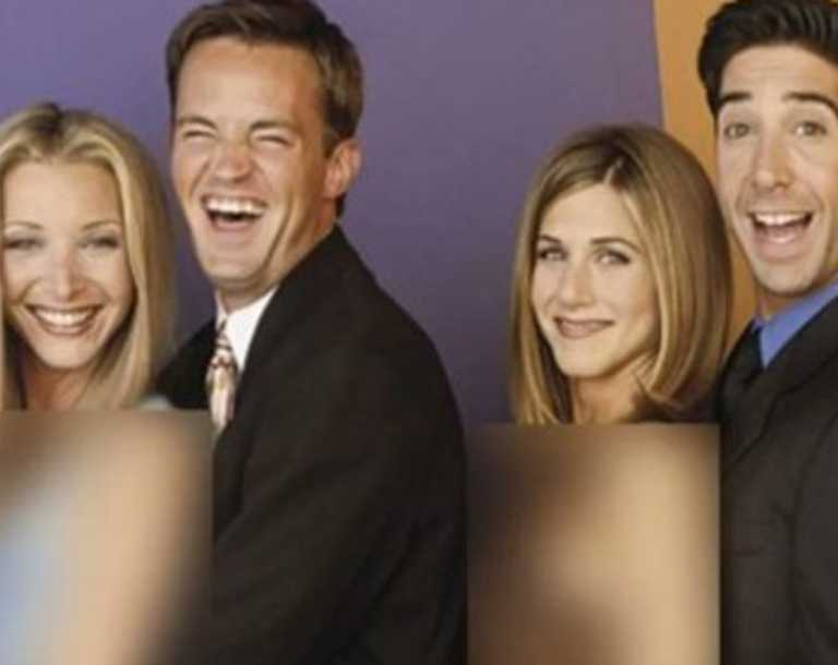 Arms blurred out in promo photo for Friends.