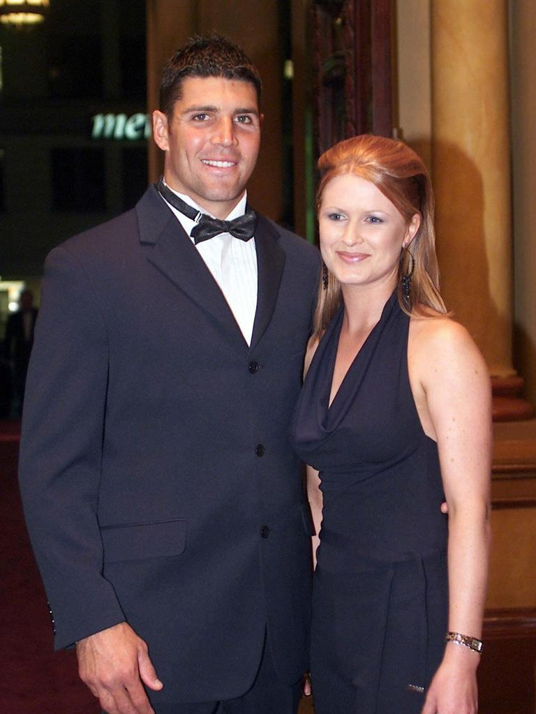 Barrett and wife Kylie in 2002. Pic: Brett Costello.