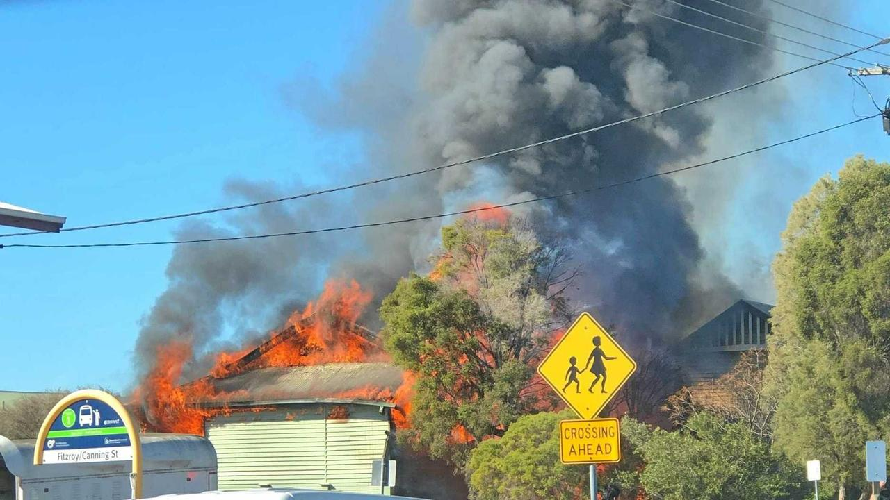 The admin building at Warwick East State School, the oldest in Queensland, is destroyed by fire.