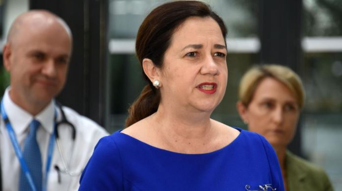 Premier Annastacia Palaszczuk provides a COVID update at Gold Coast University Hospital today. Photo: Steve Holland