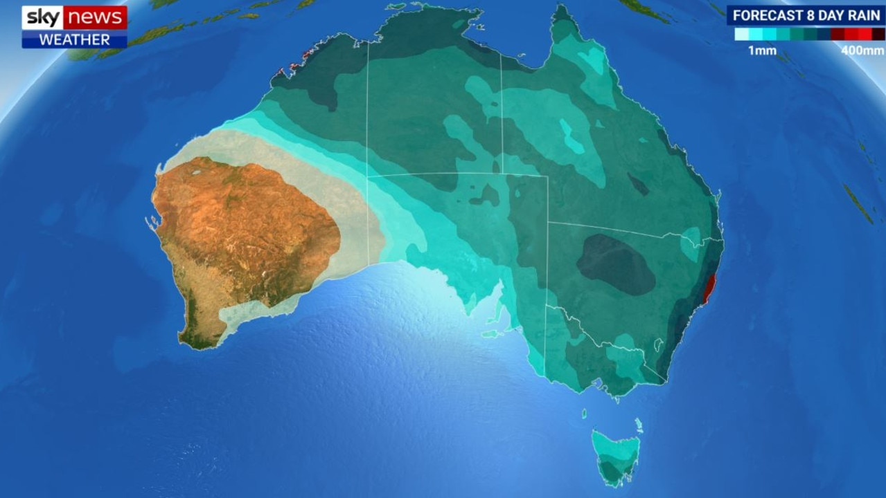 The heaviest rainfall is likely along the mid north coast of NSW and northeast Western Australia. Picture: Sky News Weather