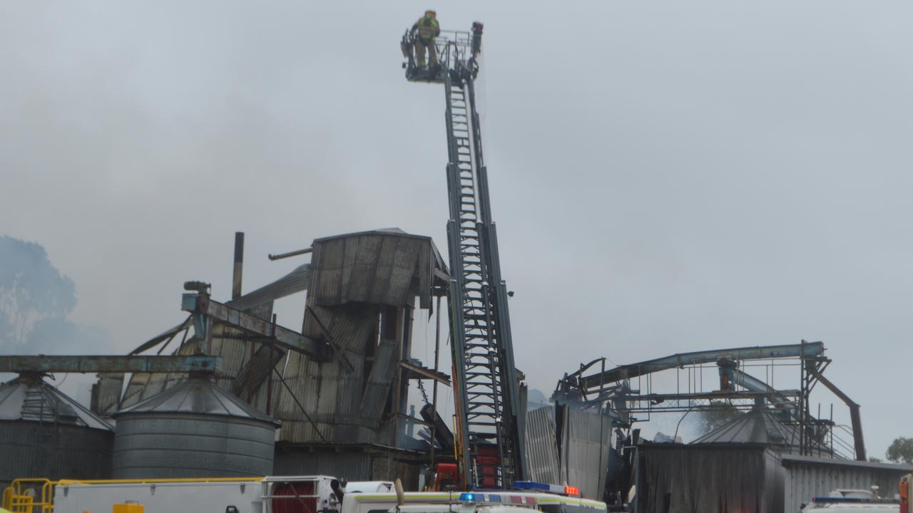 BLAZE: Extensive fire damage at Allora Grain and Milling this morning.